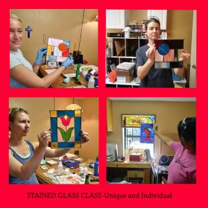 Student Collage // stained glass classes // Mike Dumas Copper Designs Inc.