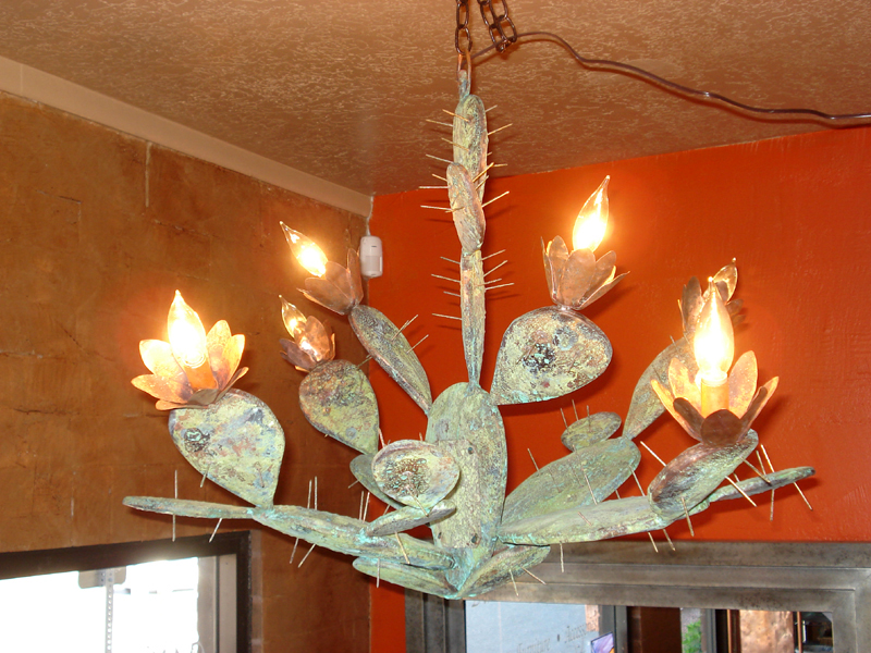 Copper cactus // chandelier // lighting by Mike Dumas Copper Designs.
