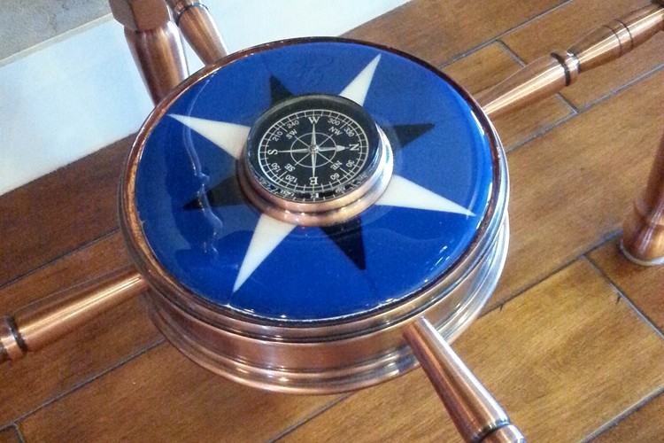 Fused Glass Compass Rose by Mike Dumas Copper Designs Inc. https://mikedumascopperdesigns.com/blog/2015/07/09/the-compass-ro…d-in-my-studio/
